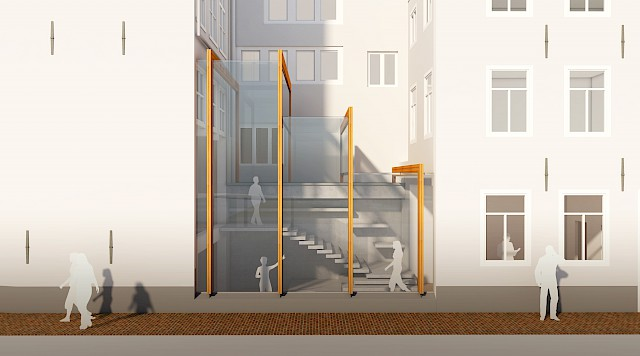 allard architecture • Rokin 91 • 3D View of Staircase