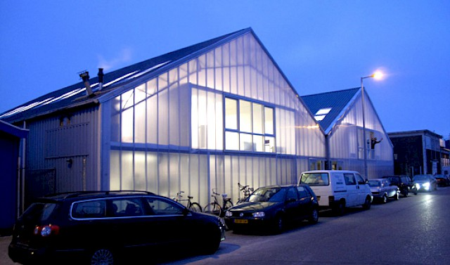 allard architecture • Blauwe Hallen • Street Facade by Night